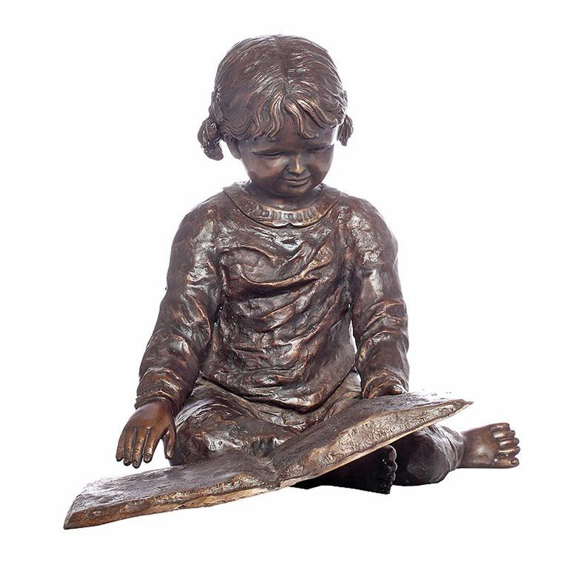 Bronze Statue of a Young Girl Reading a Book