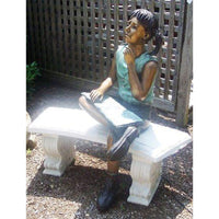 Bronze Statue of a Girl Reading a Book