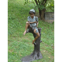 Boy Fishing on Tree Bronze Statue