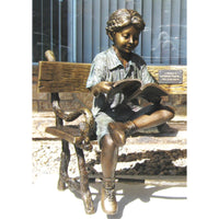 Bronze Statue of Boy Reading a Book