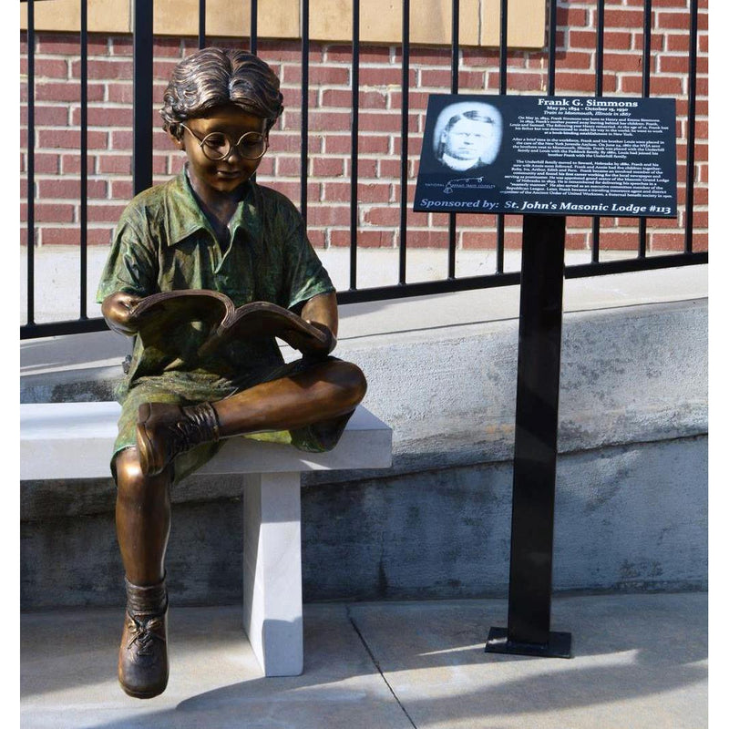 Study Time - Boy Reading-Bronze Statue of Children Reading-Randolph Rose Collection-RG1118