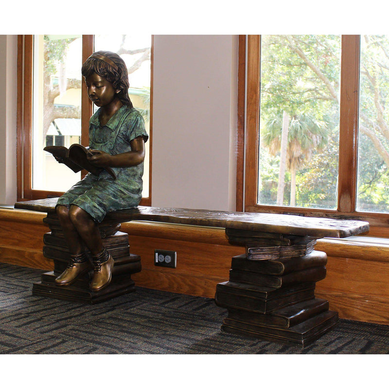 Bronze Book Buddy Bench for Libraries and Schools