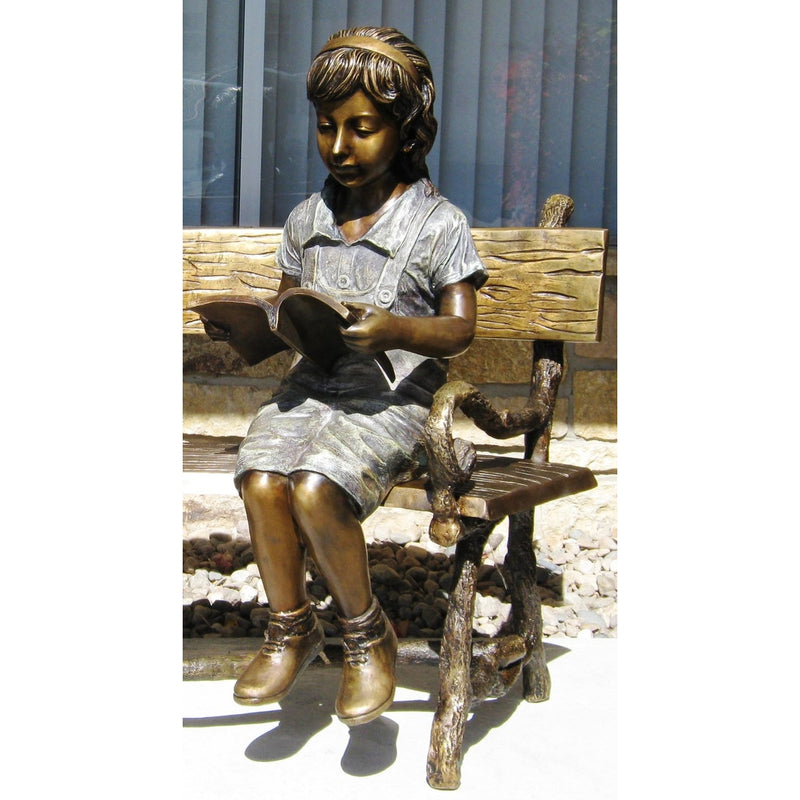 Bronze Statue of Girl Reading a Book