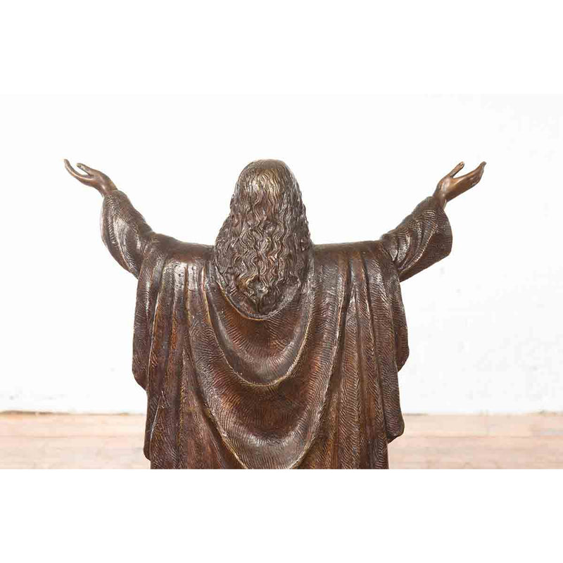 Contemporary Bronze Lost Wax Statue of Jesus with Wide Open Arms on Base