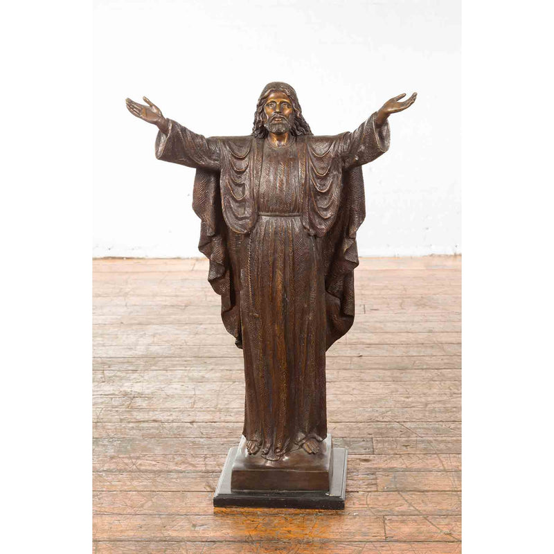 Bronze Statue of Jesus with Arms Open