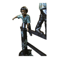 Three Boys Bronze Statue Playing on Fence