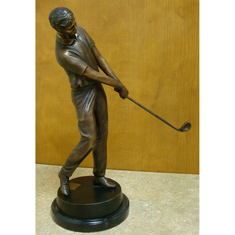 Bronze Tabletop Golfer on Marble Base