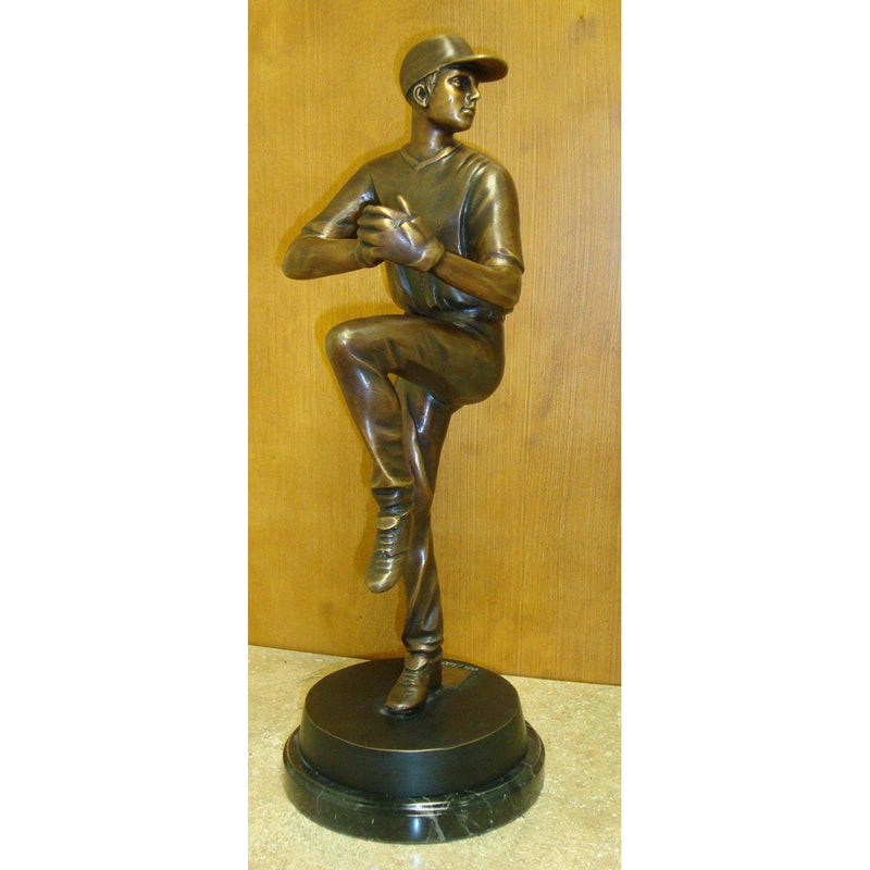 Bronze Tabletop Baseball Pitcher Mounted on Marble Base