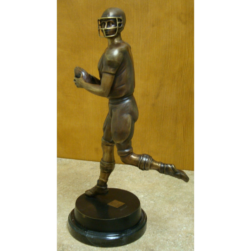Bronze Tabletop Quarterback Mounted on a Marble Base