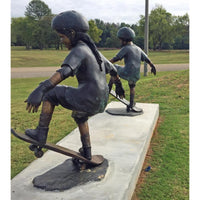 Bronze Sports Statue of an African American Girl Skateboarder