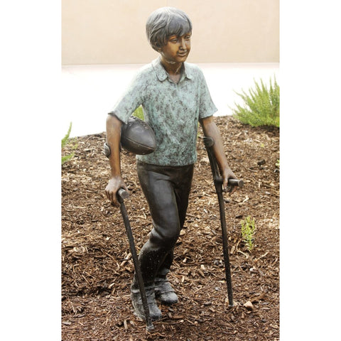 Lets Have a Catch - Special Needs Boy Bronze Sculpture Holding Football