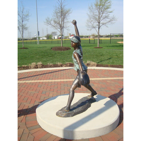 Bronze Sports Statue of a Softball Pitcher