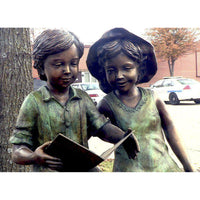 Bronze Statue of  Two Children Reading on a Bench Effingham