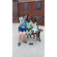 Bronze Memorial Cemetery Statue of  Two Children Reading on a Bench