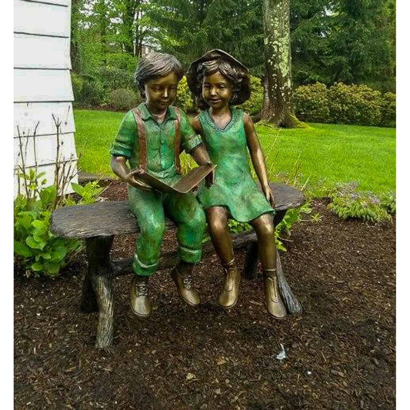 Best Friends Reading-Bronze Statue of Children Reading-Randolph Rose Collection-RG1186
