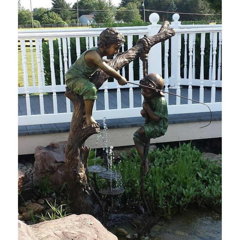 Two Boys Fishing Bronze Statue