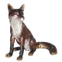 Pair of bronze fox statues