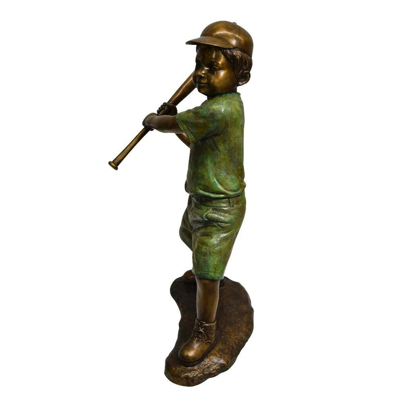 Boy Playing Baseball Bronze Statue