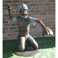 Thrown Out - Baseball Catcher Bronze Statue