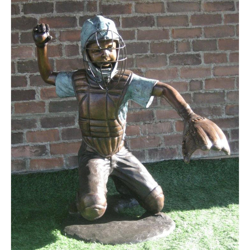Bronze Statue of Boy Baseball Catcher