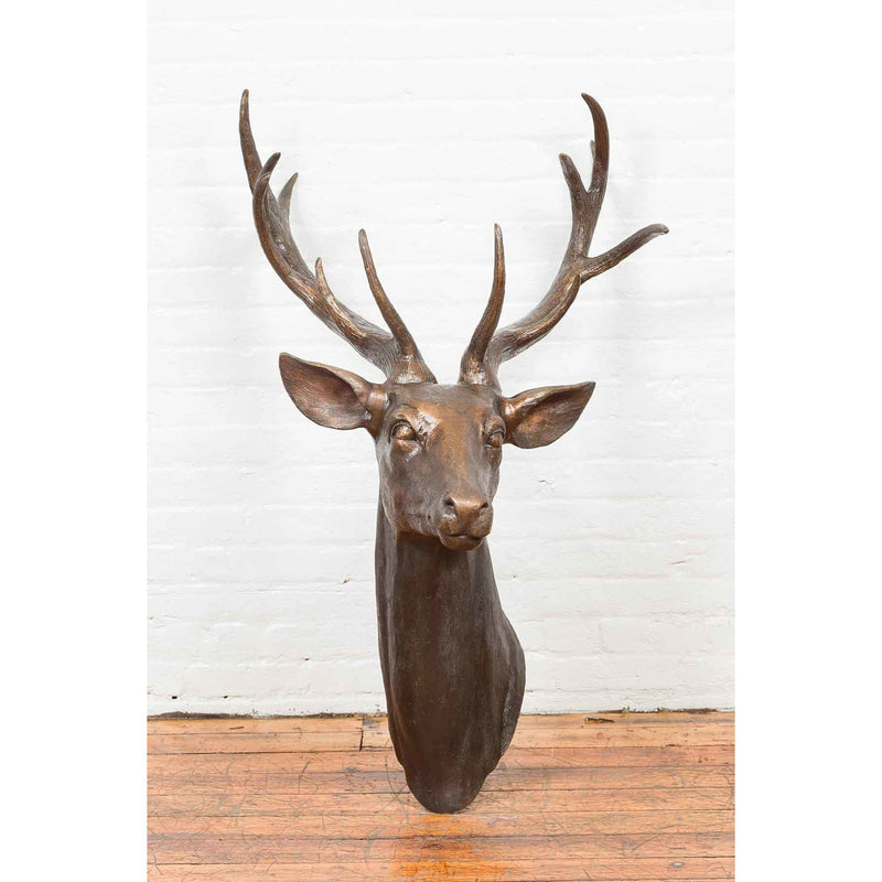 Contemporary Lost Wax Cast Bronze Stag Head Sculpture with Large Antlers