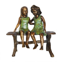 Best Friend Sisters Sitting on Bench Statue