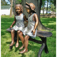 Custom Bronze Statue of Two Best Friend Girls Sitting on a Bench