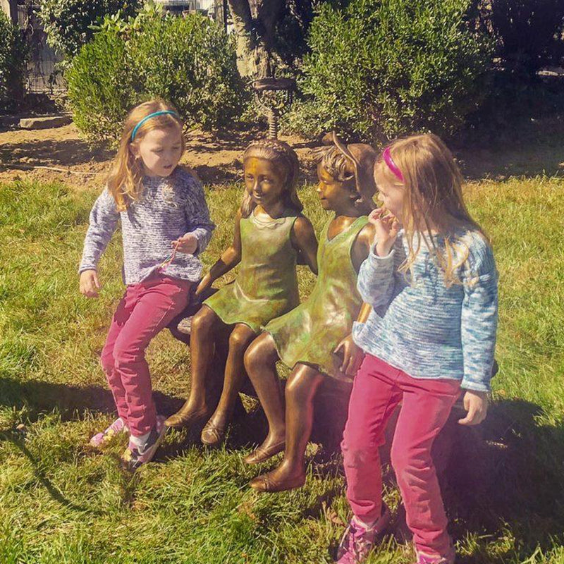 Best Friend Sisters Sitting on Bench Statue-Bronze Statue of Children Reading-Randolph Rose Collection-RG1239