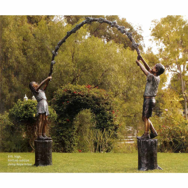 Jump Rope Arbor Children Entryway - Boy and Girl-Bronze Statue of Children Reading-Randolph Rose Collection-RG1247