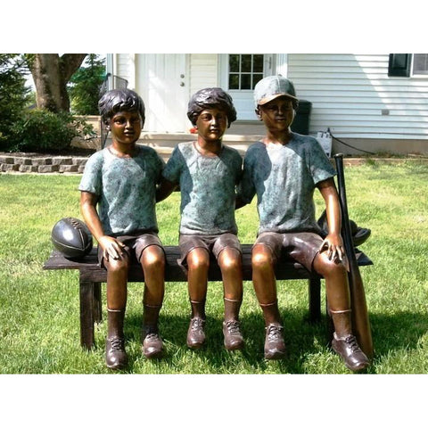 Benchwarmers - Three Boys Sitting on Bench Bronze Statue