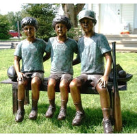 Bronze Children Sports Statue of  Three Boys Sitting on Bench