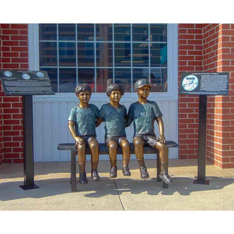 Three Boys Sitting On Bench Bronze Statue