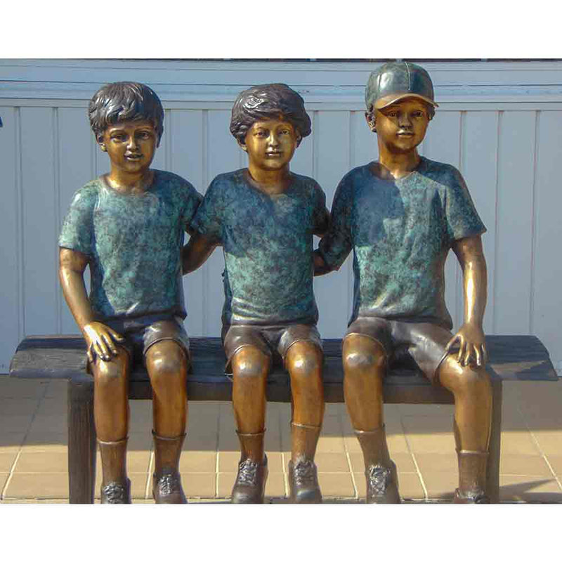 Three Boys Sitting On Bench Bronze Statue-Bronze Statue of Children Reading-Randolph Rose Collection-RG1248