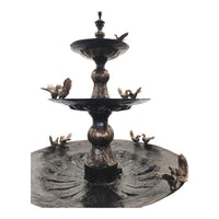 Three Tier Bronze Fountain with Birds