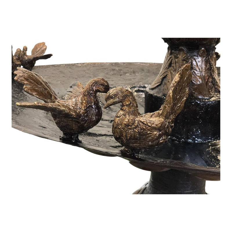 Classic Three Tier Bronze Fountain with Birds