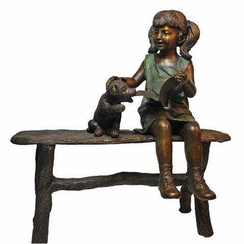 Bronze Statue of a Girl Reading a Book with a Puppy Dog