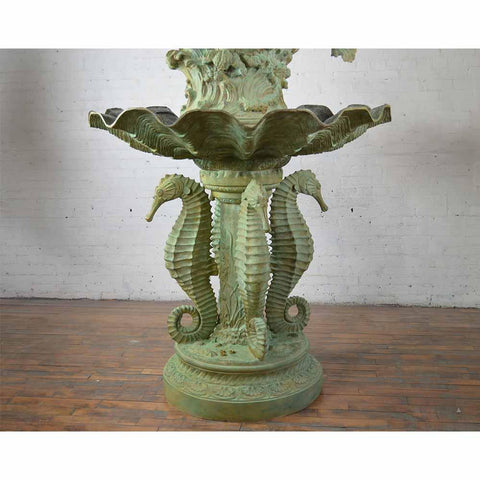 Outdoor Bronze Mermaid and Seahorse Fountain