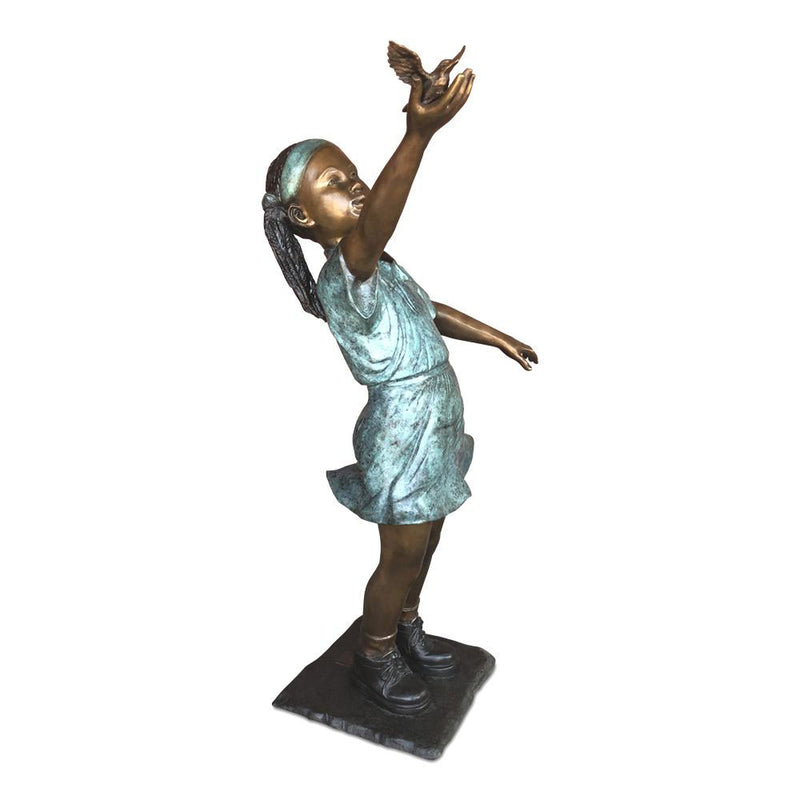 Fly Away - African American Girl with Bird-Bronze Statue of Children Reading-Randolph Rose Collection-RG1319