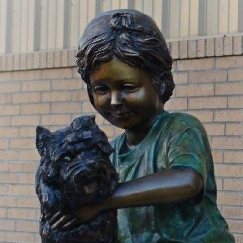 Puppy Love Dog Statue-Bronze Statue of Children Reading-Randolph Rose Collection-RG1321