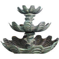 Triple Tier Waterfall Wave Shell Fountain