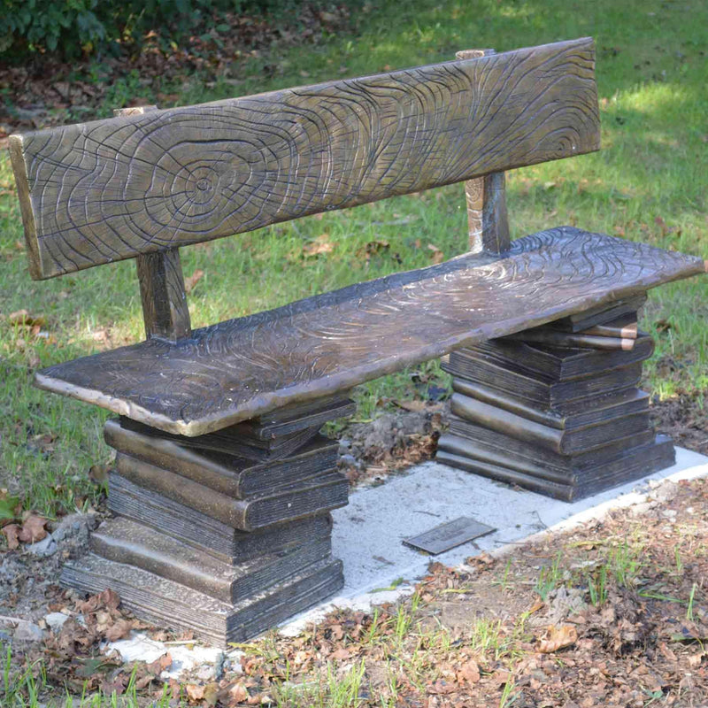 Stack of Books Buddy Bench with Back-Bronze Statue of Children Reading-Randolph Rose Collection-RG1348