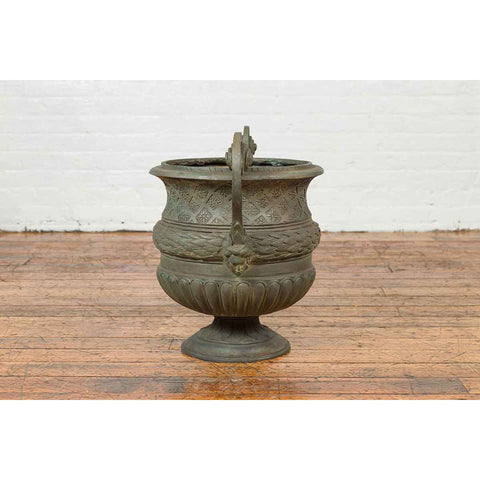 Vintage Versailles Style Verde Bronze Urn Planter with Large Scrolling Handles