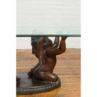 Bronze Looking to the Heavens Double Cherub Coffee Table Base with Dark Patina