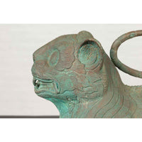 Small Vintage Cast Bronze Mythical Animal Sculpture with Verde Patina