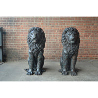 Pair of Large Sitting Lion Statues