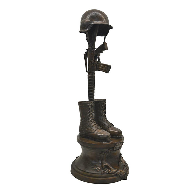 Patriotic Military Armed Forces Bronze Memorial Fallen Soldier Statue