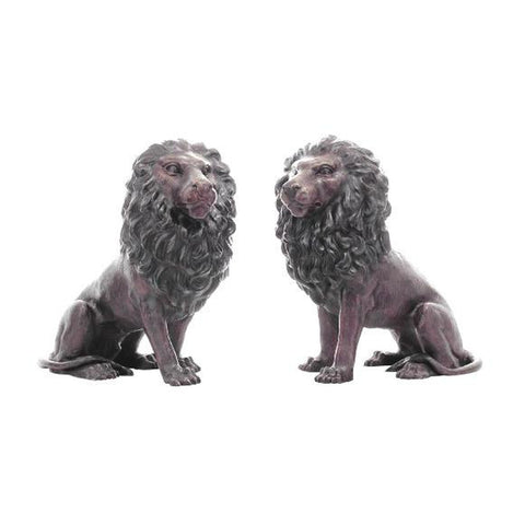Pair of Sitting Lion Statues