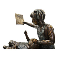 Reading Lesson-Bronze Statue of Children Reading-Randolph Rose Collection-RG1460