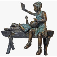 Children Reading Bronze Art Statues for Libraries