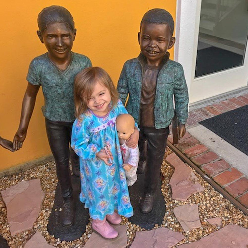 Celebrate Diversity - Fun with Friends-Bronze Statue of Children Reading-Randolph Rose Collection-